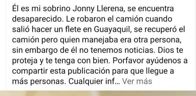 Jhonny también era buscado por sus familiares a través de las redes sociales.