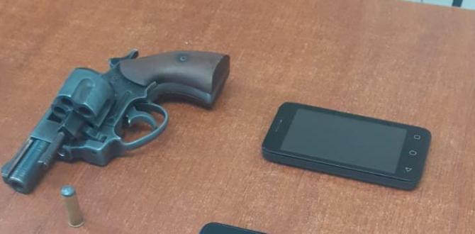 Esta arma de fuego y dos celulares se halló en poder del extranjero.