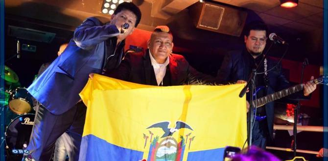 El compatriota, durante una presentación, mostrando con orgullo la bandera ecuatoriana.