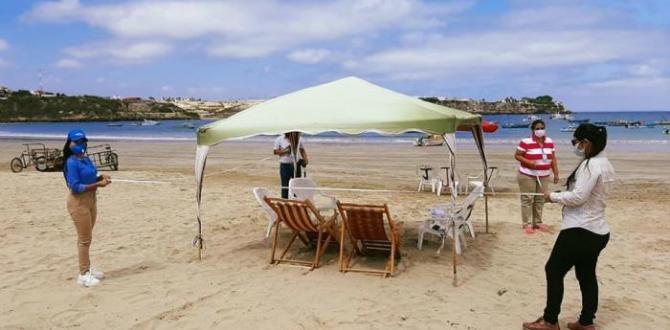 En las playas de Ayangue se efectuó la señalización de espacios.