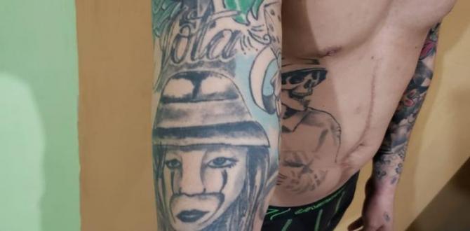 El sospechoso tiene varios tatuajes en su cuerpo.