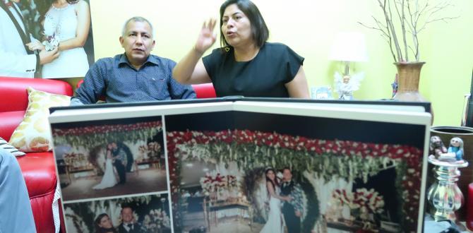 En el álbum familiar, los progenitores conservan las fotos del matrimonio de su hija.