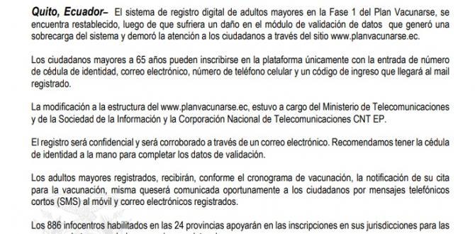 Comunicado de la Secretaría General de Comunicación de la Presidencia.