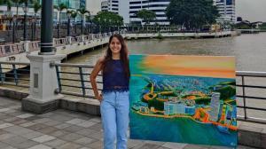 Gaby Balda muestra en Instagram su pintura que homenajea a Guayaquil.
