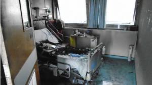 Así quedó la cama donde estaba el paciente.