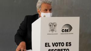 """En la imagen, el presidente ecuatoriano, Lenín Moreno, quien también pidió a los candidatos que muestren """"su vocación democrática y su máximo cuidado de la paz social"""""""