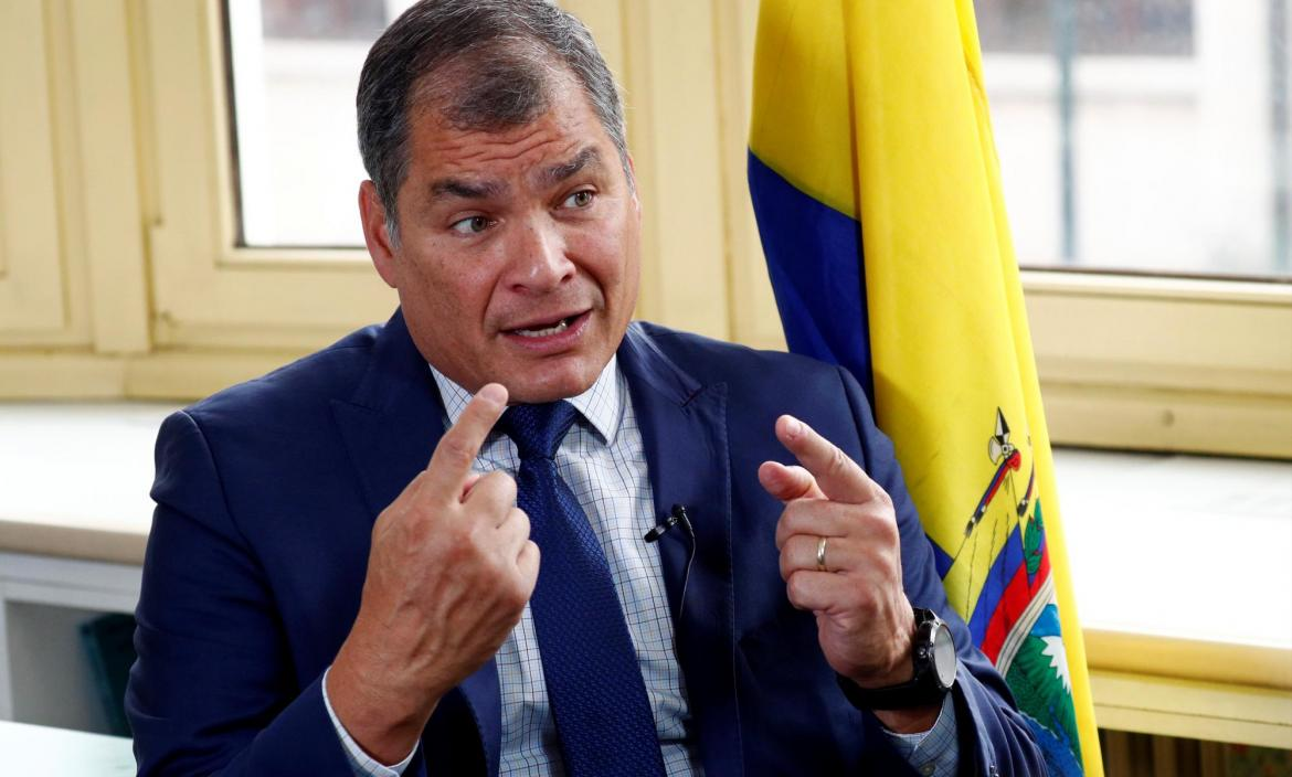 Ecuador's former president Correa speaks during an interview with Reuters in Brussels