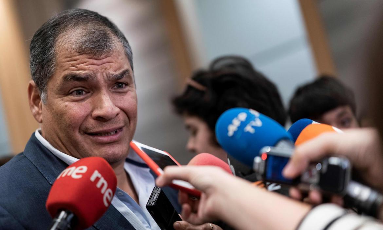 Ecuador's former President (2007-2017) Rafael Correa gives a press co