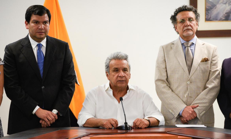 Ecuador's President Lenin Moreno addresses the media next to President of Ecuador's National Assembly Cesar Litardo and the government's ombudsman Pablo Celi, in Guayaquil