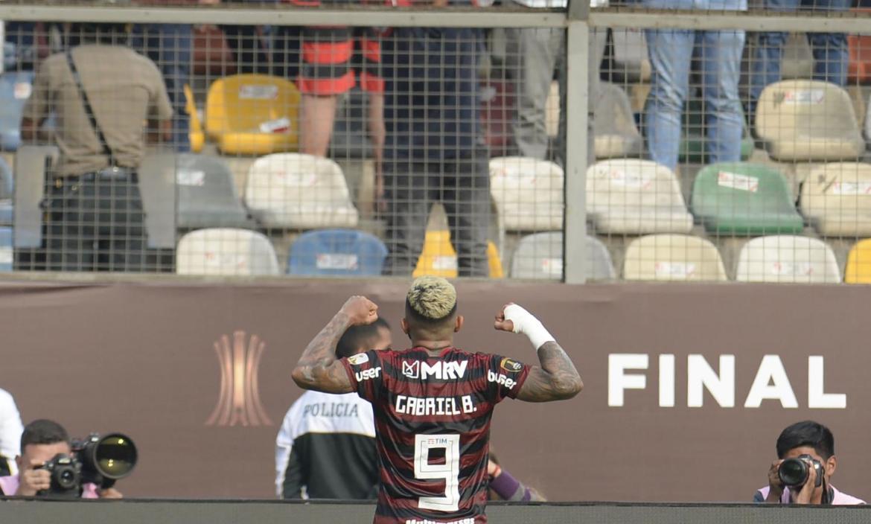 Flamengo's Gabriel Barbosa celebrates after scoring against Argentina