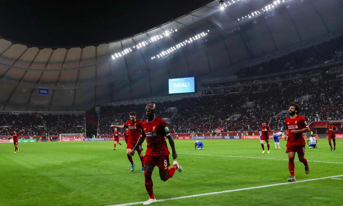 Liverpool's players celebrate their winning goal during the 2019 FIFA