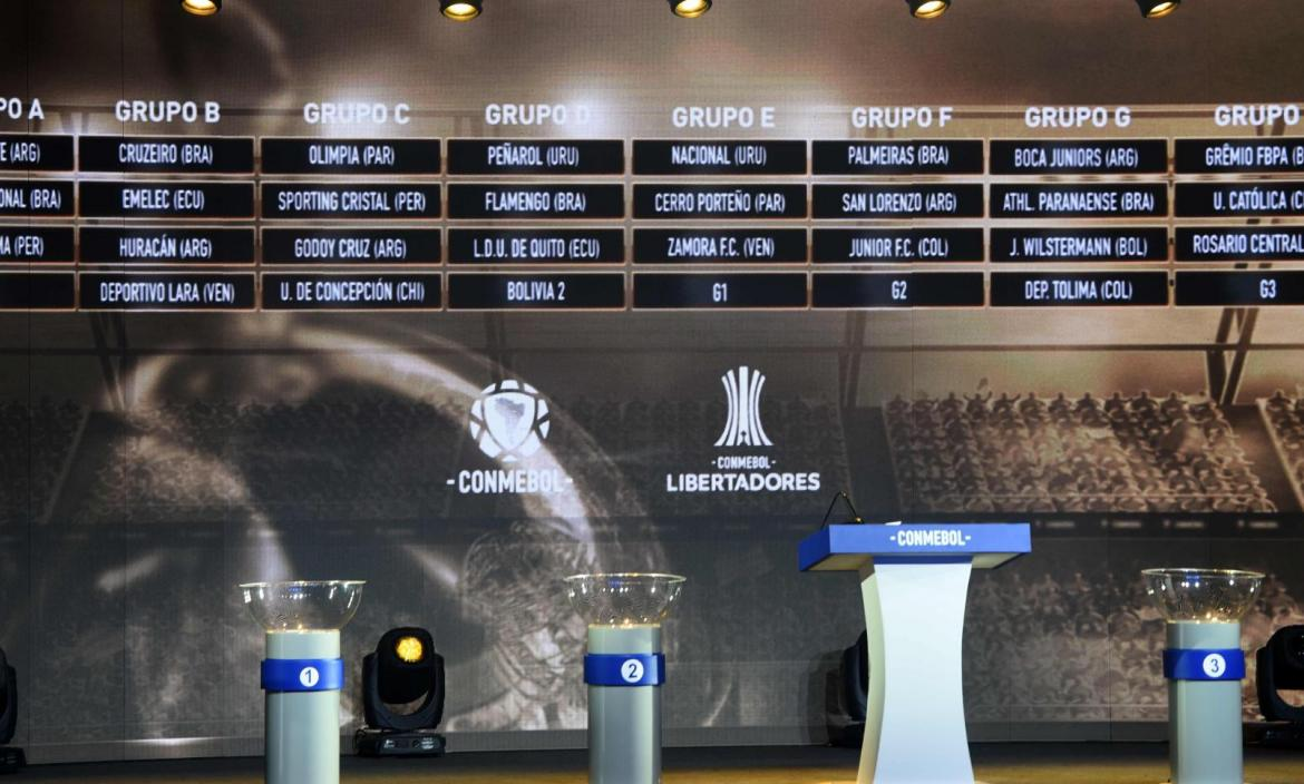 View of the screen showing the fixture of the groups for the Copa Lib
