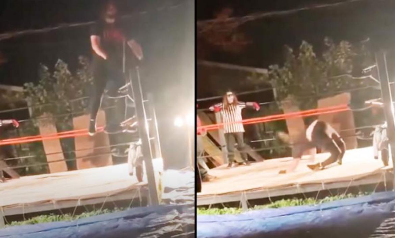 Momentos en que el luchador aficionado se rompe las piernas.