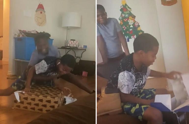 Los chicos se tiraron al piso de la emoción por ver el regalo.