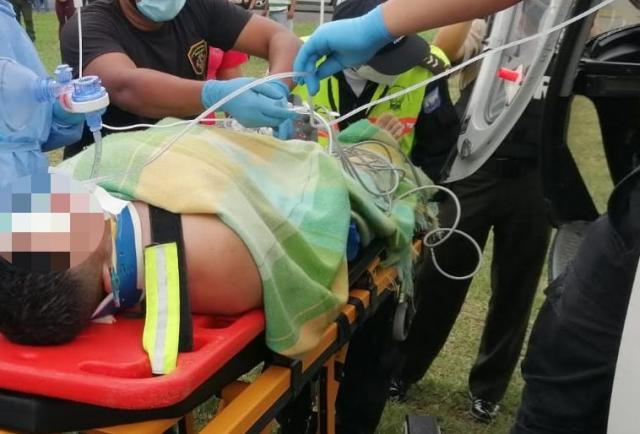 Impactante: Policía está grave de salud por un machetazo